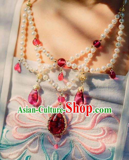 China Ancient Palace Accessories Conophytum Pucillum Pearls Necklace Chinese Traditional Jewelry Hanfu Necklet for Women