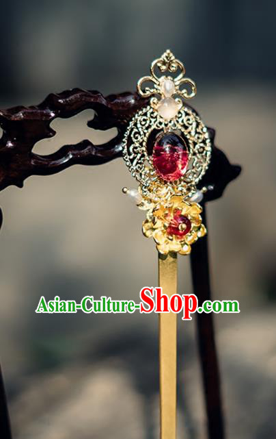 China Ancient Hair Accessories Hanfu Golden Hair Clip Chinese Classical Hairpins for Women