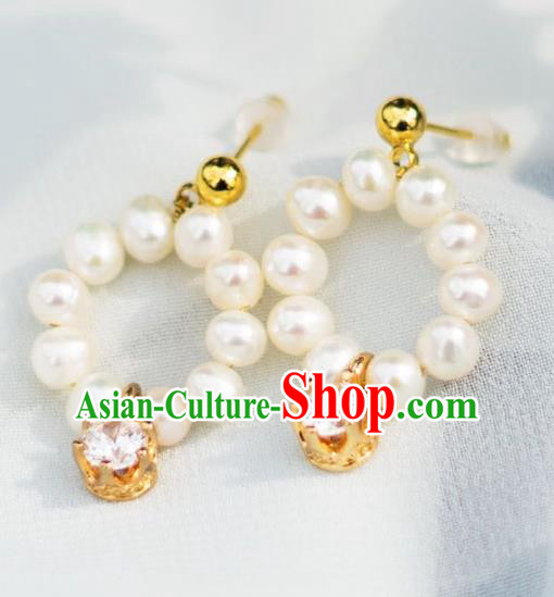 China Ancient Palace Accessories Classical Pearls Crystal Earrings Chinese Traditional Hanfu Eardrop for Women
