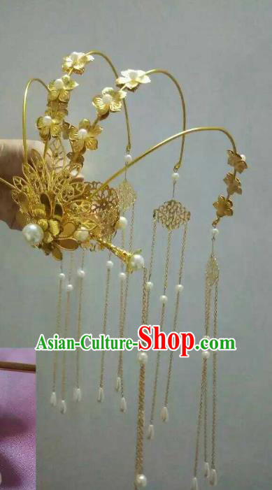 China Ancient Hair Accessories Hanfu Princess Phoenix Coronet Chinese Classical Tassel Hairpins for Women