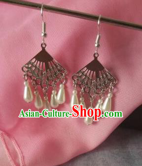China Ancient Palace Accessories Classical Pearls Earrings Chinese Traditional Hanfu Eardrop for Women
