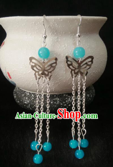China Ancient Palace Accessories Butterfly Earrings Chinese Traditional Jewelry Hanfu Eardrop for Women