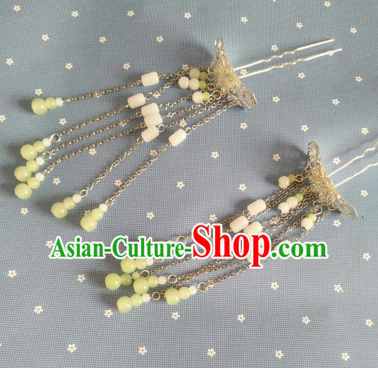China Ancient Hair Accessories Hanfu Princess Butterfly Tassel Hair Clips Chinese Classical Hairpins for Women