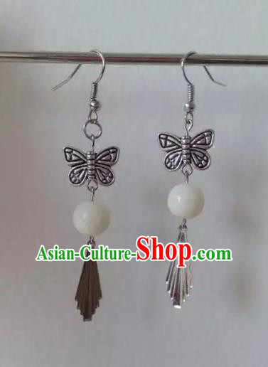 China Ancient Palace Accessories Earrings Chinese Traditional Jewelry Hanfu Butterfly Eardrop for Women