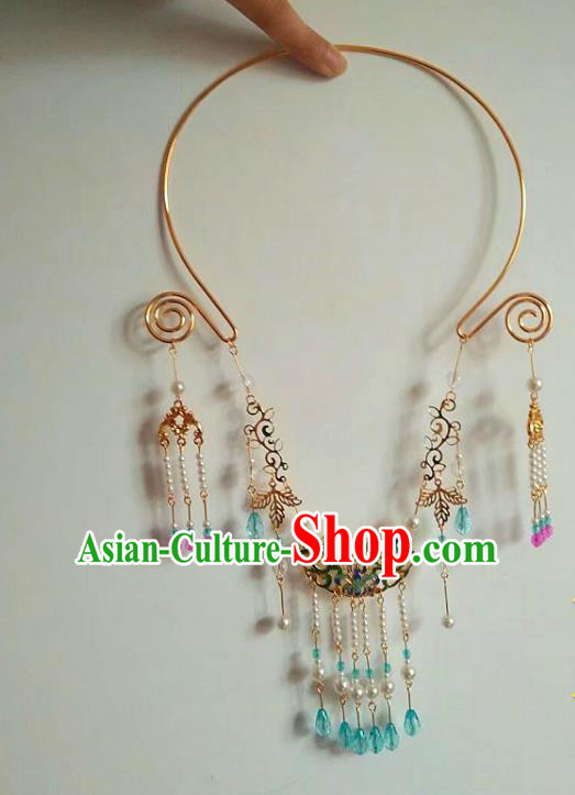China Ancient Palace Accessories Necklace Chinese Traditional Jewelry Hanfu Tassel Necklet for Women