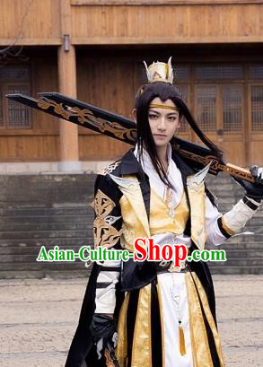 China Traditional Cosplay Swordsman Childe Yellow Costumes Chinese Ancient Kawaler Knight-errant Clothing for Men