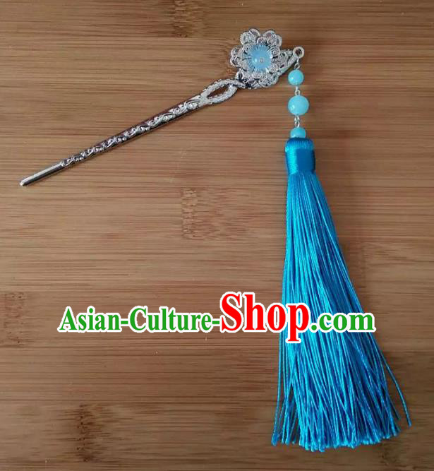 China Ancient Hair Accessories Hanfu Blue Tassel Hair Clip Chinese Classical Hairpins for Women