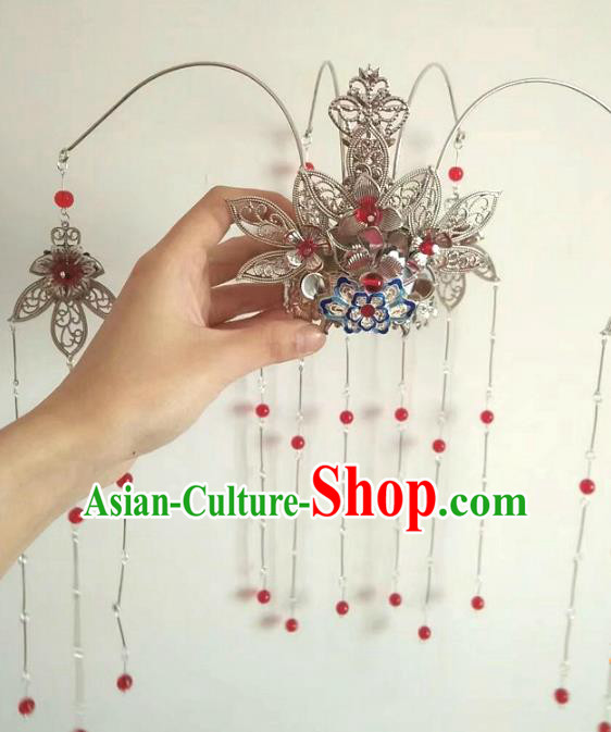 China Ancient Hair Accessories Hanfu Red Beads Tassel Phoenix Coronet Chinese Traditional Hairpins for Women