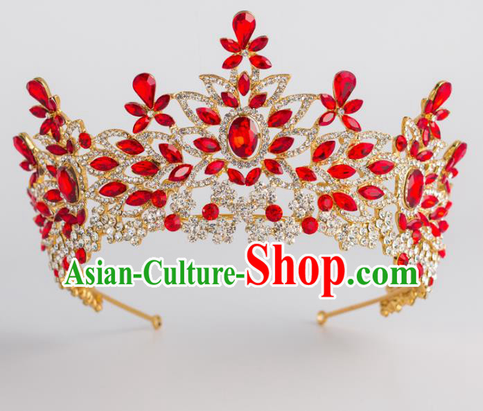 Baroque Bride Hair Accessories Classical Royal Crown Red Crystal Imperial Crown Headwear for Women