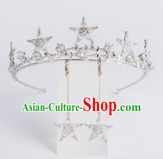 Baroque Bride Hair Accessories Classical Zircon Stars Royal Crown Princess Imperial Crown Headwear for Women
