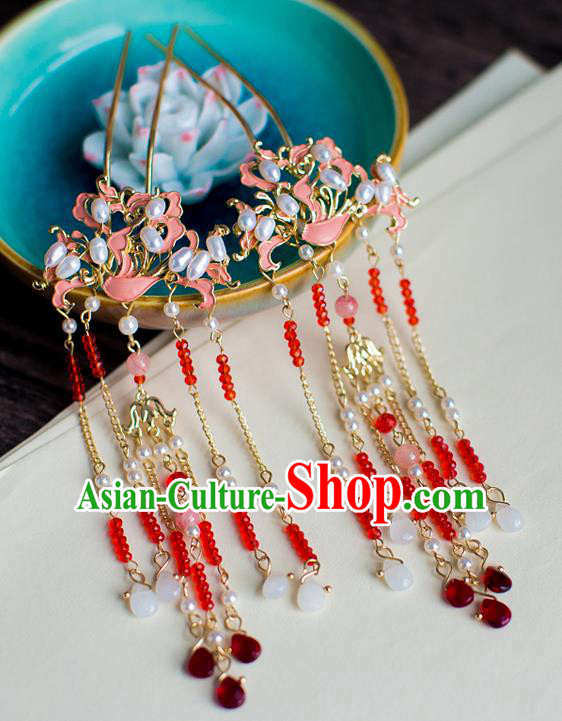 Chinese Traditional Palace Hair Accessories Xiuhe Suit Pearls Step Shake Ancient Hairpins for Women