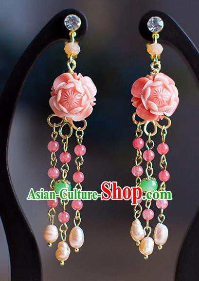 Chinese Ancient Bride Classical Accessories Pink Peony Earrings Wedding Jewelry Hanfu Eardrop for Women