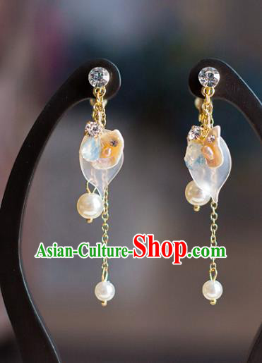 Chinese Ancient Bride Classical Accessories Earrings Wedding Jewelry Hanfu Pearls Eardrop for Women