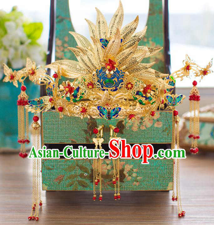 Chinese Traditional Palace Hair Accessories Xiuhe Suit Blueing Phoenix Coronet Ancient Hairpins Complete Set for Women