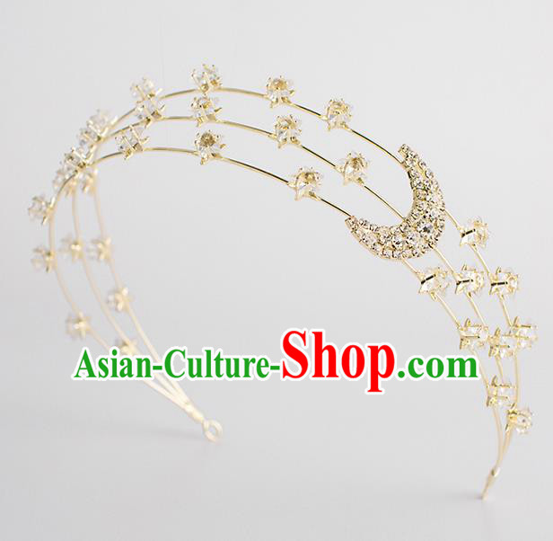 Classical Bride Hair Accessories Wedding Crystal Moon Hair Clasp Headband Headwear for Women