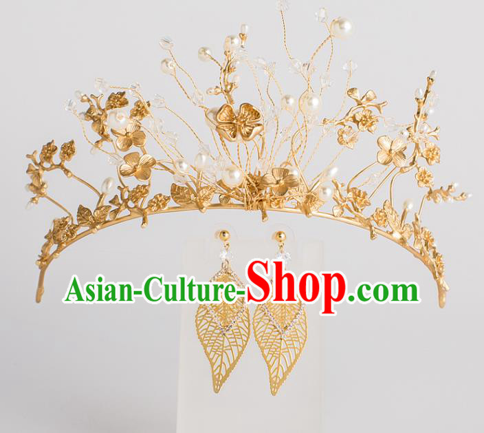 Baroque Bride Hair Accessories Classical Wedding Royal Crown Retro Golden Imperial Crown Headwear for Women