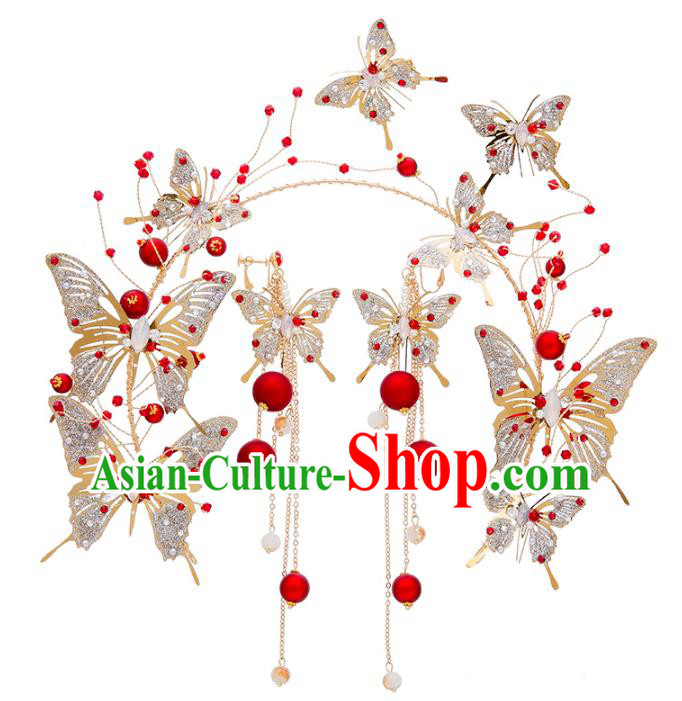 Bride Hair Accessories Wedding Crystal Butterfly Hair Clasp and Earrings Headband for Women