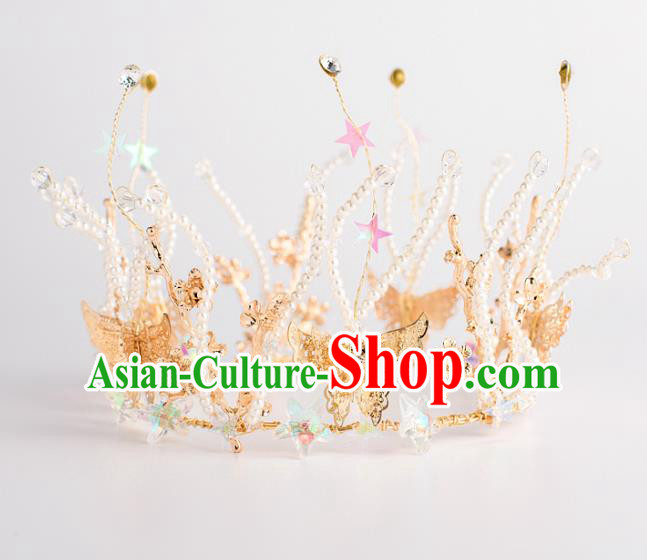 Baroque Bride Hair Accessories Classical Wedding Hair Clasp Golden Butterfly Imperial Crown Headwear for Women