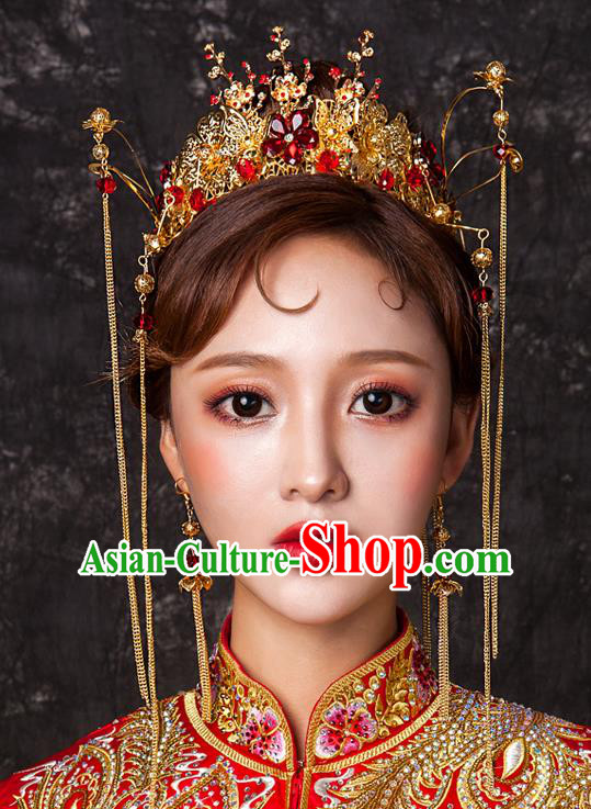 Chinese Traditional Wedding Hair Accessories Tassel Phoenix Coronet Ancient Xiuhe Suit Bride Hairpins Complete Set for Women