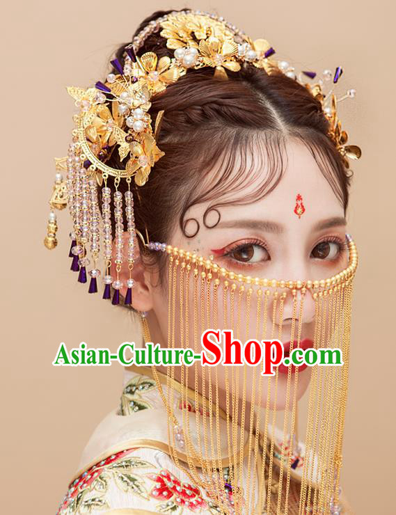 Chinese Traditional Wedding Hair Accessories Tassel Phoenix Coronet Ancient Xiuhe Suit Hairpins Complete Set for Women