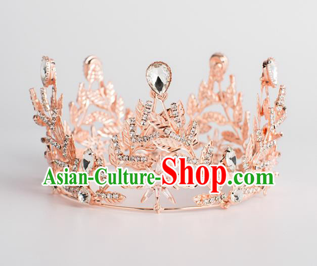 Baroque Bride Hair Accessories Classical Wedding Hair Clasp Pink Imperial Crown Headwear for Women
