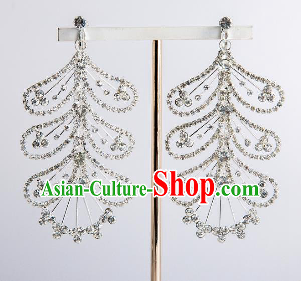 Bride Classical Accessories Crystal Exaggerated Earrings Wedding Jewelry Eardrop for Women