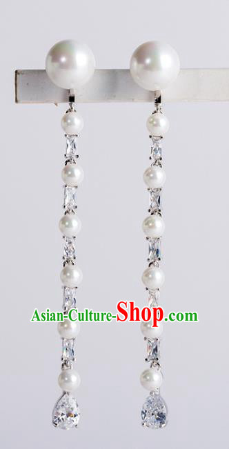 Bride Classical Accessories Pearls Exaggerated Earrings Wedding Jewelry Tassel Eardrop for Women