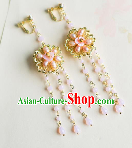 Bride Classical Accessories Pink Pearls Earrings Wedding Jewelry Tassel Eardrop for Women