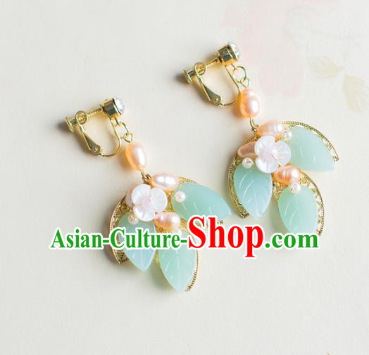 Bride Classical Accessories Green Leaf Earrings Wedding Jewelry Hanfu Eardrop for Women