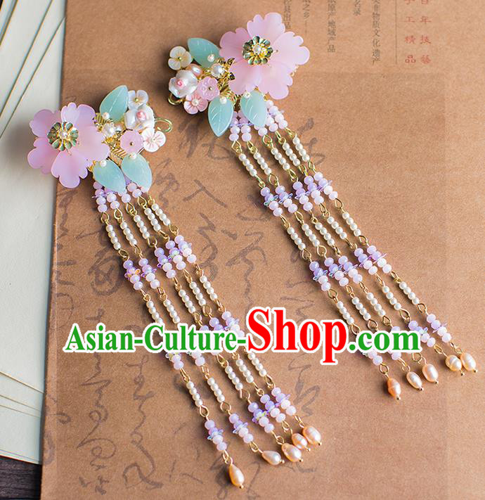 Chinese Traditional Palace Hair Accessories Pearls Tassel Hair Claws Ancient Xiuhe Suit Hairpins for Women