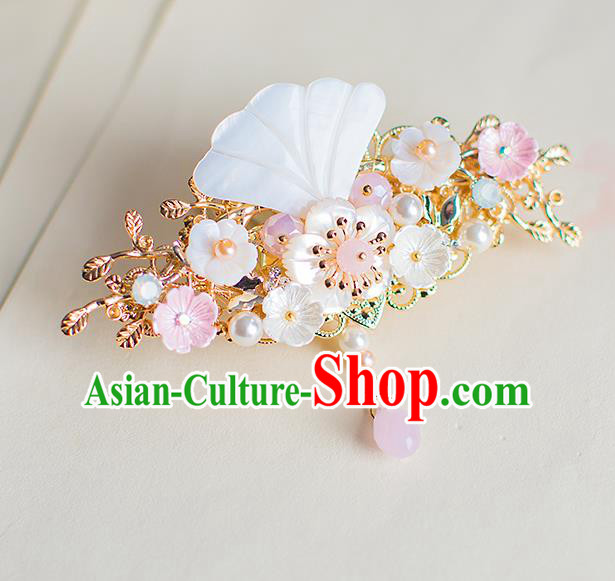 Chinese Traditional Palace Hair Accessories Shell Hair Claw Ancient Xiuhe Suit Hairpins for Women