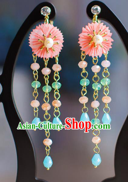Chinese Ancient Bride Classical Accessories Pink Earrings Wedding Jewelry Hanfu Eardrop for Women