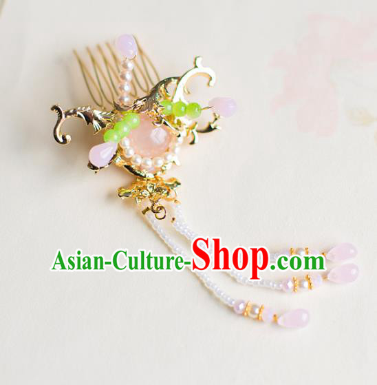 Chinese Traditional Palace Hair Accessories Tassel Hair Comb Ancient Xiuhe Suit Hairpins for Women