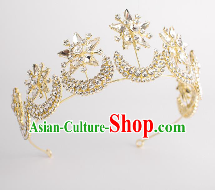 Classical Bride Hair Accessories Wedding Crystal Moon Stars Hair Clasp Headwear for Women