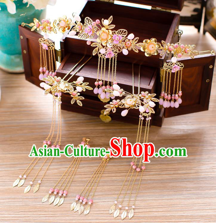 Chinese Traditional Palace Hair Accessories Xiuhe Suit Phoenix Coronet Ancient Tassel Hairpins Complete Set for Women
