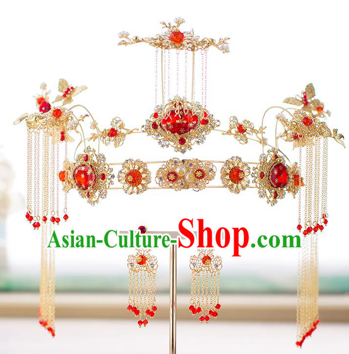 Chinese Traditional Palace Hair Accessories Phoenix Coronet Xiuhe Suit Hairpins Ancient Tassel Hair Clips Complete Set for Women