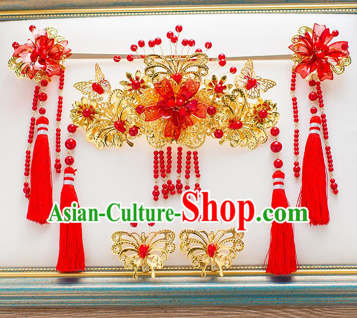 Chinese Traditional Palace Hair Accessories Phoenix Coronet Ancient Xiuhe Suit Tassel Hairpins Complete Set for Women