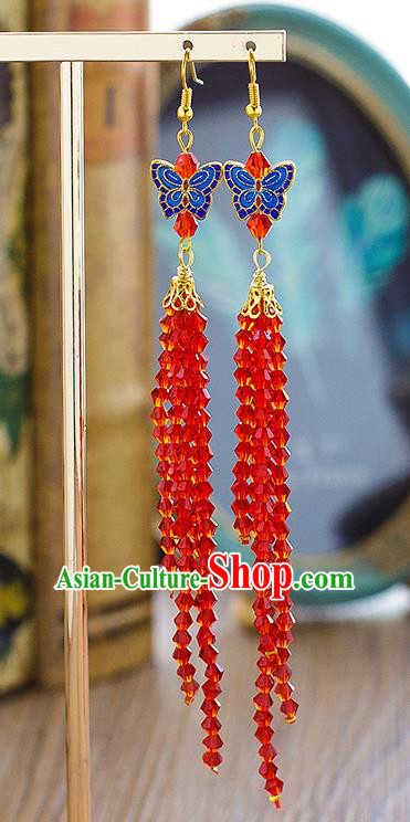Chinese Ancient Bride Classical Accessories Earrings Wedding Jewelry Hanfu Blueing Butterfly Eardrop for Women