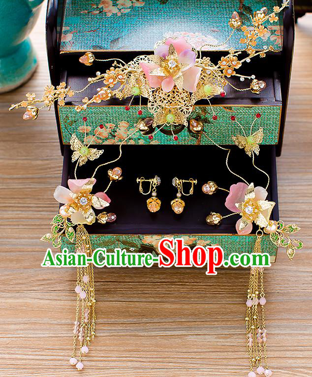 Chinese Traditional Palace Hair Accessories Phoenix Coronet Ancient Xiuhe Suit Hairpins Complete Set for Women