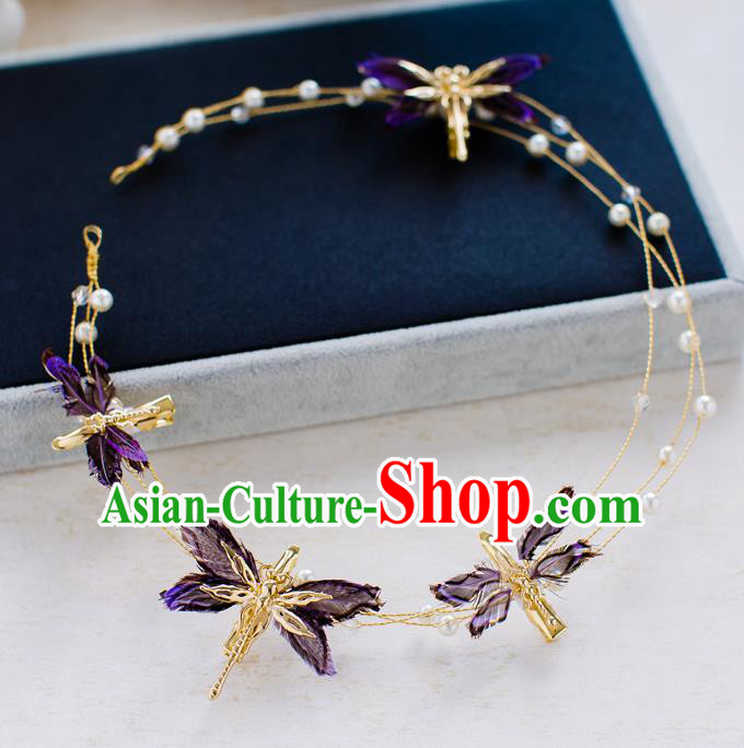 Top Classical Bride Hair Accessories Wedding Purple Dragonfly Hair Clasp Headwear for Women