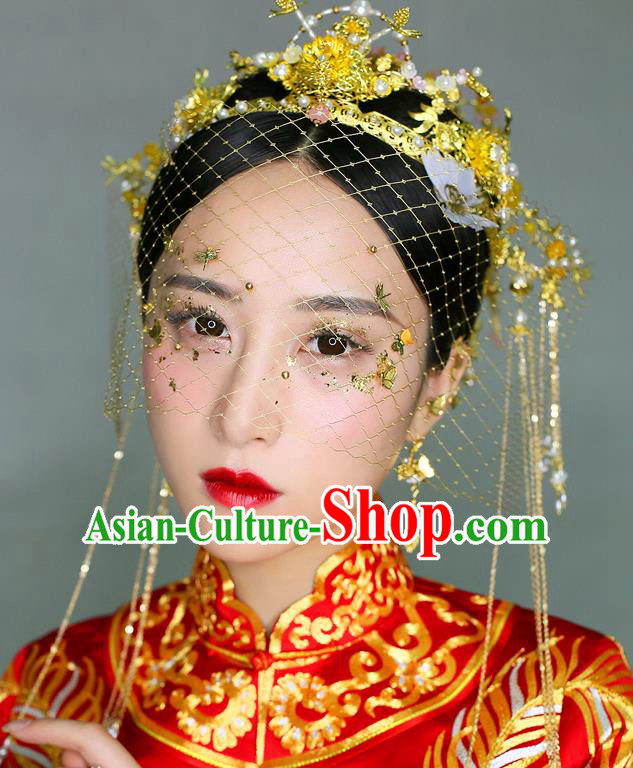 Chinese Traditional Palace Hair Accessories Ancient Hairpins Xiuhe Suit Golden Phoenix Coronet Complete Set for Women