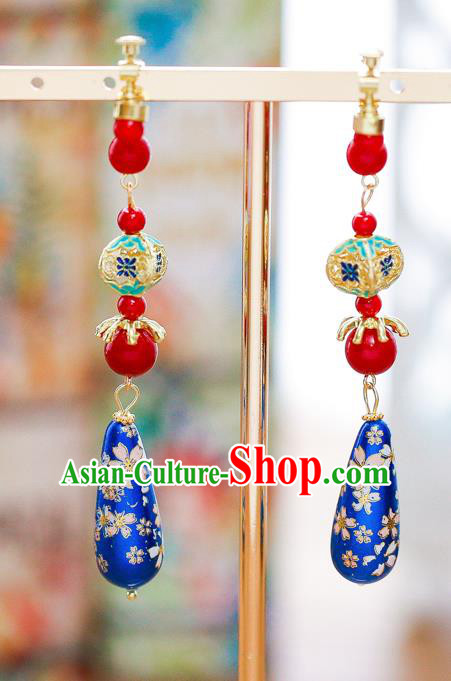 Chinese Ancient Bride Classical Accessories Earrings Wedding Jewelry Hanfu Blue Eardrop for Women
