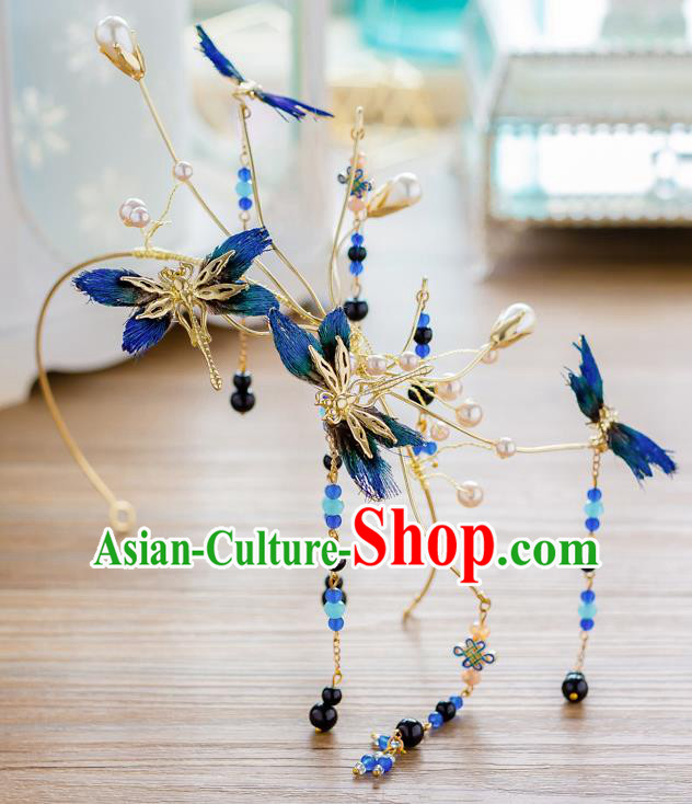 Top Classical Bride Hair Accessories Wedding Blue Dragonfly Hair Clasp Headwear for Women