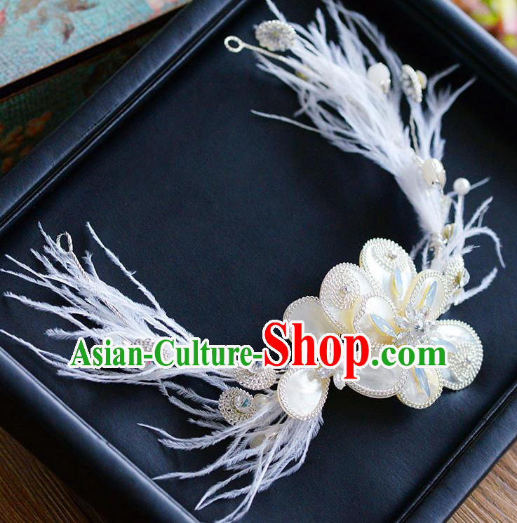 Top Classical Bride Hair Accessories Wedding Shell Feather Hair Stick Headwear for Women
