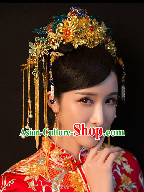 Chinese Traditional Palace Hair Accessories Ancient Hairpins Xiuhe Suit Tassel Blueing Phoenix Coronet Complete Set for Women