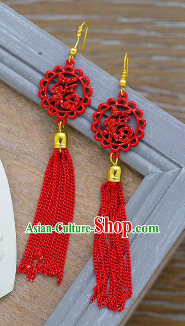 Chinese Ancient Bride Classical Accessories Red Tassel Earrings Wedding Jewelry Hanfu Eardrop for Women