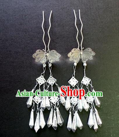Chinese Traditional Palace Hair Accessories Ancient Tassel Hairpins Butterfly Hair Clips for Women