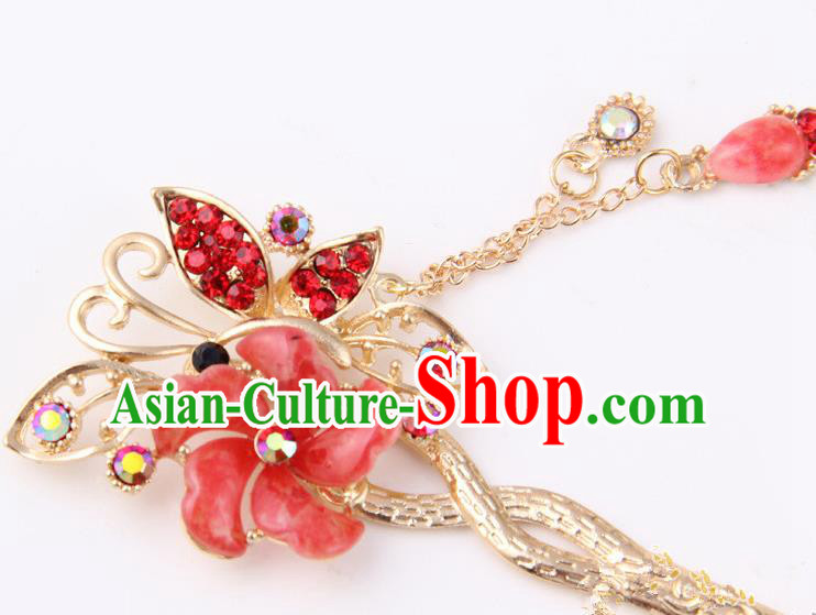 Chinese Traditional Palace Hair Accessories Ancient Red Flowers Hairpins Crystal Hair Clips for Women