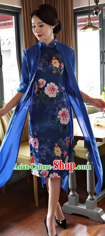 Top Grade Chinese Printing Blue Two-pieces Qipao Dress National Costume Traditional Mandarin Cheongsam for Women