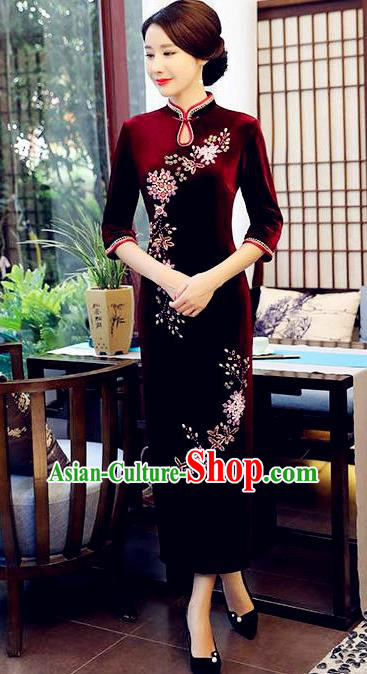 Top Grade Chinese Beading Embroidery Purplish Red Qipao Dress National Costume Traditional Mandarin Cheongsam for Women
